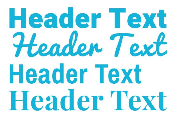 teal colored texts that read